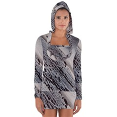 Black And White Long Sleeve Hooded T Shirt