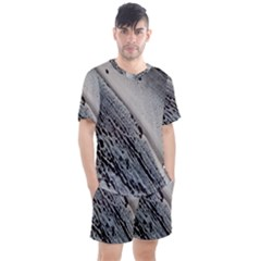 Black And White Men s Mesh Tee And Shorts Set