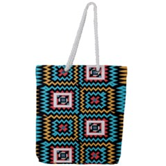 Shapes On A Black Background                                      Full Print Rope Handle Tote (large)
