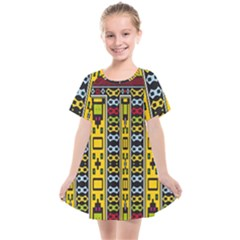 Shapes Rows                                       Kids  Smock Dress