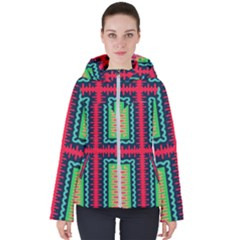 Waves In Retro Colors                                           Women s Hooded Puffer Jacket