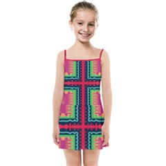 Waves In Retro Colors                                           Kids Summer Sun Dress