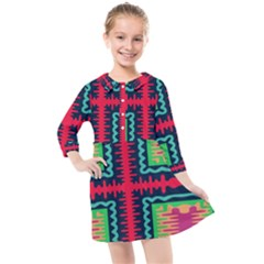 Waves In Retro Colors                               Kids  Quarter Sleeve Shirt Dress