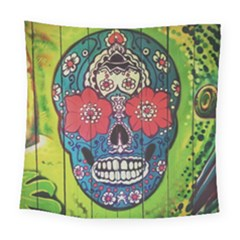 Mexican Skull Square Tapestry (large) by alllovelyideas