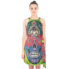 Mexican Skull Halter Collar Waist Tie Chiffon Dress