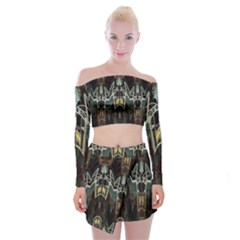 Urban Industrial Rust Grunge Off Shoulder Top with Mini Skirt Set
