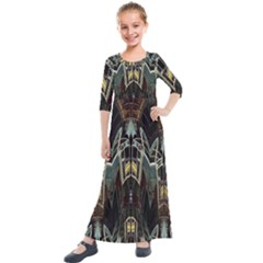 Urban Industrial Rust Grunge Kids  Quarter Sleeve Maxi Dress by CrypticFragmentsDesign