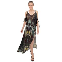 Urban Industrial Rust Grunge Maxi Chiffon Cover Up Dress
