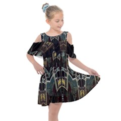 Urban Industrial Rust Grunge Kids  Shoulder Cutout Chiffon Dress by CrypticFragmentsDesign