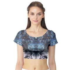 Angel Wings Blue Grunge Texture Short Sleeve Crop Top by CrypticFragmentsDesign