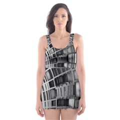 Semi Circles Abstract Geometric Modern Art Skater Dress Swimsuit by CrypticFragmentsDesign
