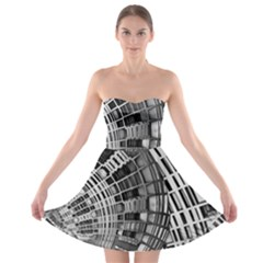 Semi Circles Abstract Geometric Modern Art Strapless Bra Top Dress by CrypticFragmentsDesign