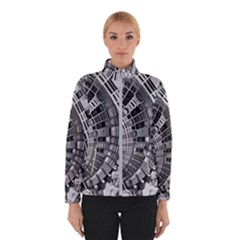 Semi Circles Abstract Geometric Modern Art Winter Jacket by CrypticFragmentsDesign