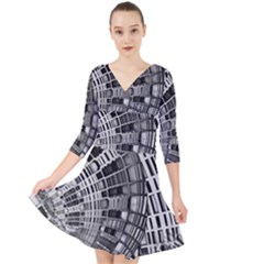 Semi Circles Abstract Geometric Modern Art Quarter Sleeve Front Wrap Dress by CrypticFragmentsDesign