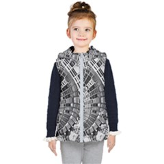 Semi Circles Abstract Geometric Modern Art Kid s Hooded Puffer Vest by CrypticFragmentsDesign