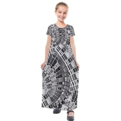 Semi Circles Abstract Geometric Modern Art Kids  Short Sleeve Maxi Dress by CrypticFragmentsDesign