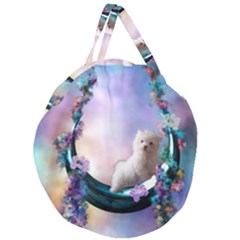 Cute Little Maltese Puppy On The Moon Giant Round Zipper Tote by FantasyWorld7
