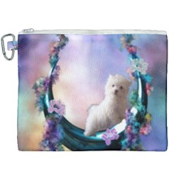Cute Little Maltese Puppy On The Moon Canvas Cosmetic Bag (xxxl) by FantasyWorld7