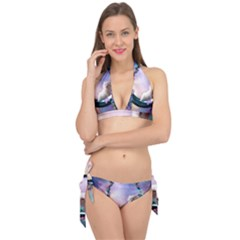 Cute Little Maltese Puppy On The Moon Tie It Up Bikini Set by FantasyWorld7