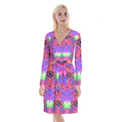Neon Night Dance Party Pink Purple Long Sleeve Velvet Front Wrap Dress by CrypticFragmentsDesign