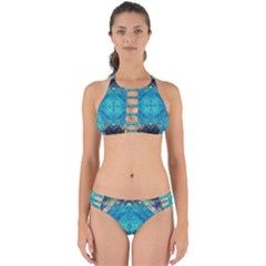 Boho Hippie Tie Dye Retro Seventies Blue Violet Perfectly Cut Out Bikini Set by CrypticFragmentsDesign
