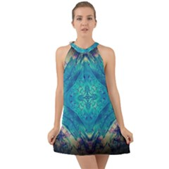 Boho Hippie Tie Dye Retro Seventies Blue Violet Halter Tie Back Chiffon Dress by CrypticFragmentsDesign