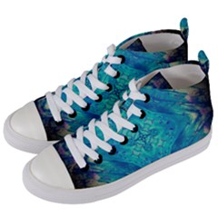 Boho Hippie Tie Dye Retro Seventies Blue Violet Women s Mid Top Canvas Sneakers by CrypticFragmentsDesign