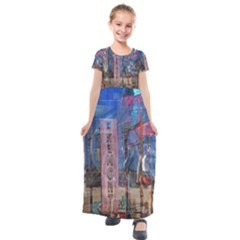 Las Vegas Strip Walking Tour Kids  Short Sleeve Maxi Dress