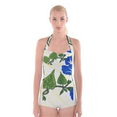 Morning Glory Boyleg Halter Swimsuit