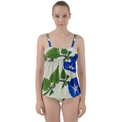 Morning Glory Twist Front Tankini Set