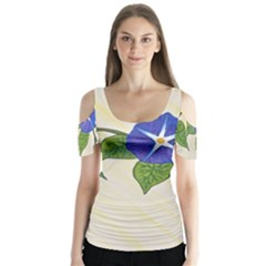 Morning Glory Butterfly Sleeve Cutout Tee