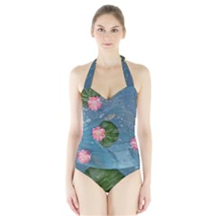 Water Lillies Halter Swimsuit