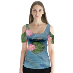 Water Lillies Butterfly Sleeve Cutout Tee