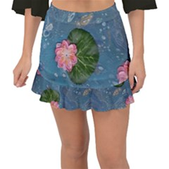 Water Lillies Fishtail Mini Chiffon Skirt