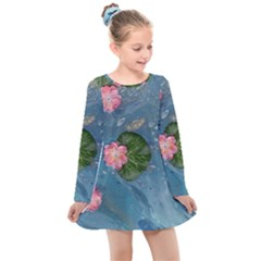Water Lillies Kids  Long Sleeve Dress