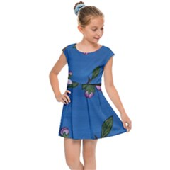 Cherry Blossoms Kids Cap Sleeve Dress
