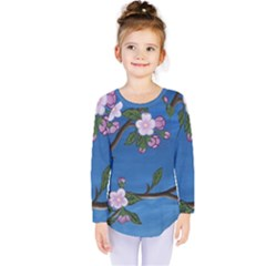 Cherry Blossoms Kids  Long Sleeve Tee