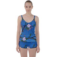 Cherry Blossoms Tie Front Two Piece Tankini