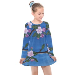 Cherry Blossoms Kids  Long Sleeve Dress