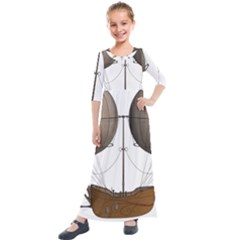 Air Ship 1300078 1280 Kids  Quarter Sleeve Maxi Dress by vintage2030