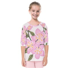 Pink Flowers Kids  Quarter Sleeve Raglan Tee