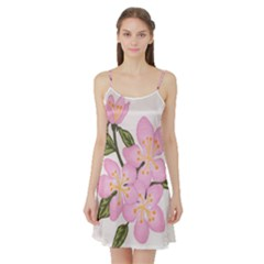 Pink Flowers Satin Night Slip