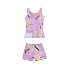 Pink Flowers Kid s Boyleg Swimsuit