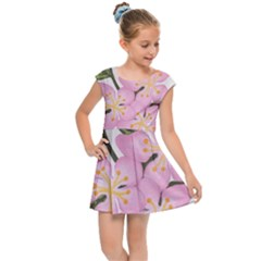 Pink Flowers Kids Cap Sleeve Dress