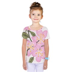 Pink Flowers Kids  One Piece Tee