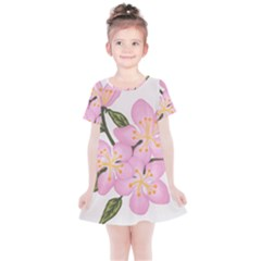 Pink Flowers Kids  Simple Cotton Dress