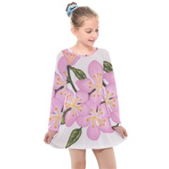 Pink Flowers Kids  Long Sleeve Dress