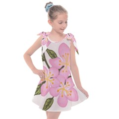 Pink Flowers Kids  Tie Up Tunic Dress
