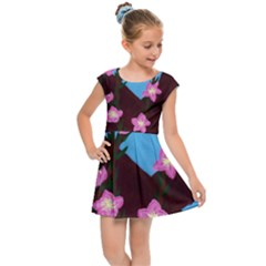 Cherry Blossom Branches Kids Cap Sleeve Dress