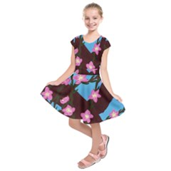 Cherry Blossom Branches Kids  Short Sleeve Dress
